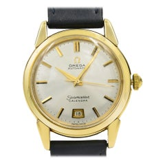 Omega Seamaster Vintage 14K Yellow Gold Silver Dial Automatic Midsize Watch Mint