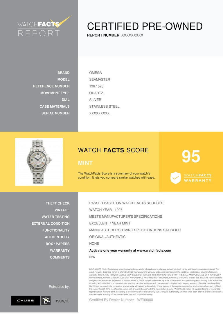 Omega Seamaster Reference # 1961526 Omega Seamaster 1961526 Mens Automatic Quartz Watch Silver Dial Stainless 36mm. Verified and Certified by WatchFacts. 1 year warranty offered by WatchFacts.