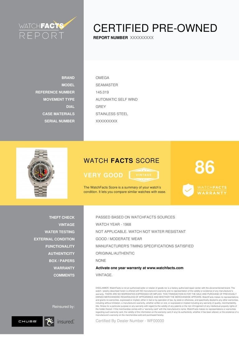 Omega Seamaster Reference #:145.019. Omega Seamaster 145.019 Soccer Mens Automatic Vintage Watch Chronograph 41mm. Verified and Certified by WatchFacts. 1 year warranty offered by WatchFacts.
