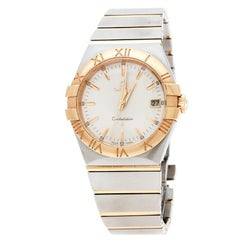 Omega Silver and 18K Yellow Gold Constellation Women's Wristwatch 34 mm