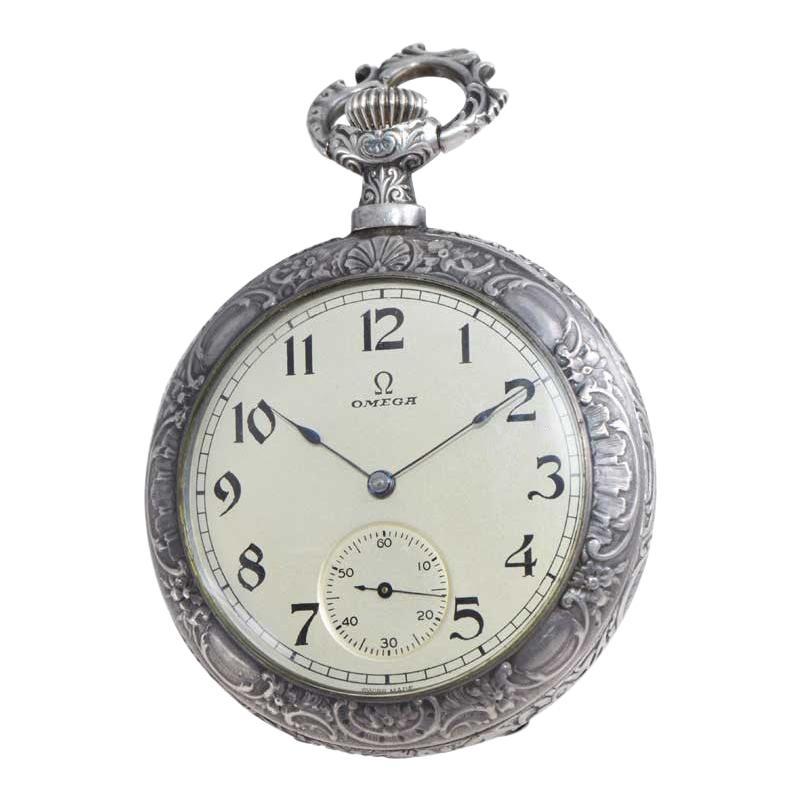 Omega Silver Pocket Watch Art Nouveau Repousse Mythological Scene from 1900