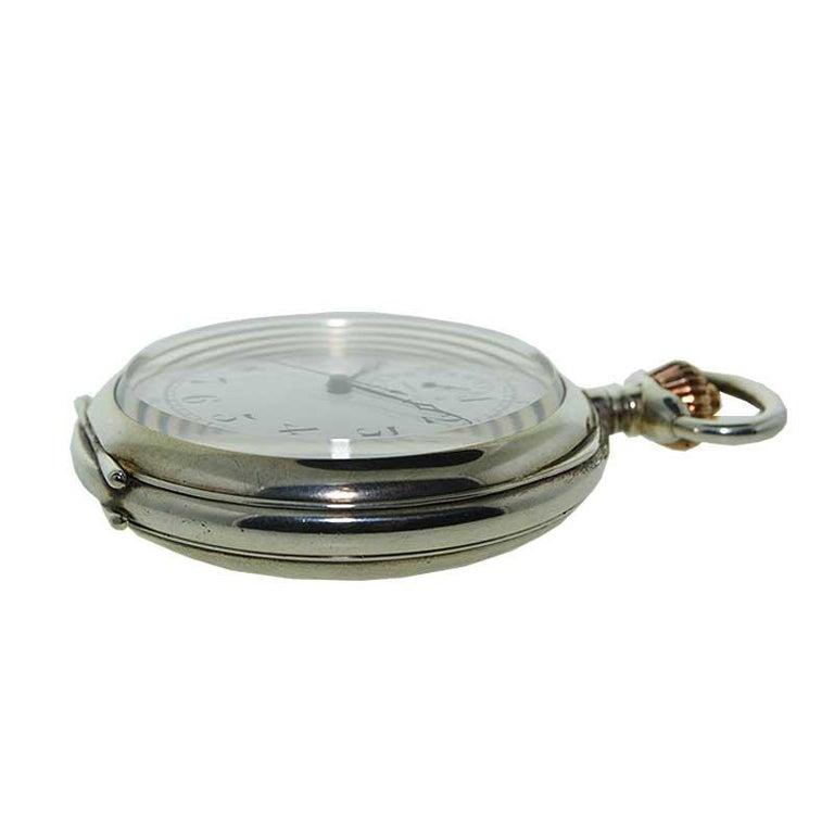Art Deco Omega Silver Single Button 15 Minute Register Pocket Watch, circa 1910 For Sale