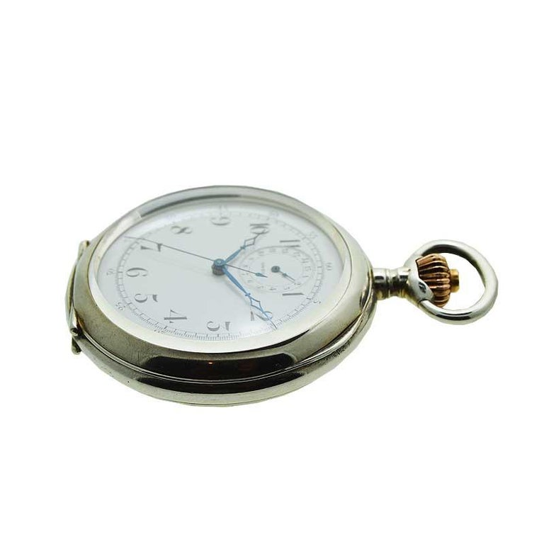 Omega Silver Single Button 15 Minute Register Pocket Watch, circa 1910 In Excellent Condition For Sale In Long Beach, CA