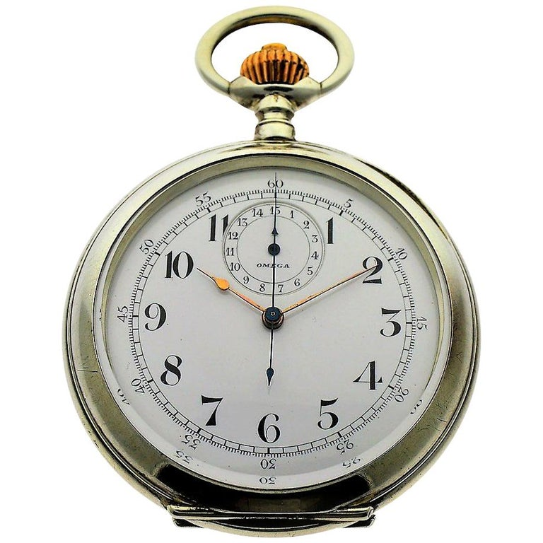 Omega Silver Single Button 15 Minute Register Pocket Watch, circa 1910 For Sale