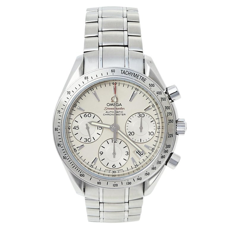 Omega Silver Stainless Steel Speedmaster Automatic Men's Wristwatch 39 mm For Sale