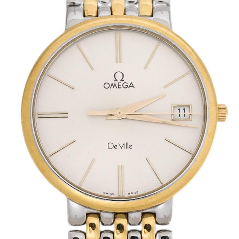 A creation to delight the hearts of watch collectors and enthusiasts alike is this Omega De Ville beauty. Made from stainless steel, the watch is smooth and efficient. The case is slim and it holds a silver dial fixed with a date window, index hour