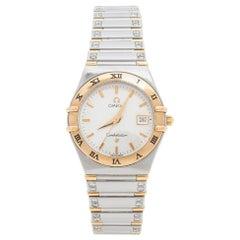 Omega Silver White 18K Gold Constellation 796.120 Women's Wristwatch 27.5 mm