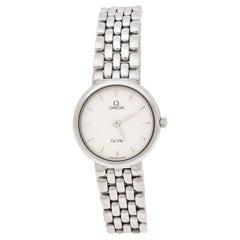 Omega Silver White Stainless Steel De Ville Women's Wristwatch 23 mm