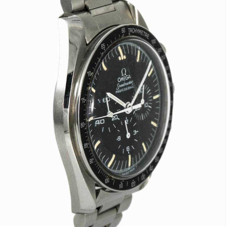 Contemporary Omega Speedmaster 145.022.78, Black Dial, Certified and Warranty For Sale