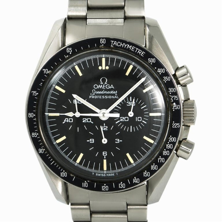 Omega Speedmaster 145.022.78, Black Dial, Certified and Warranty In Good Condition For Sale In Miami, FL