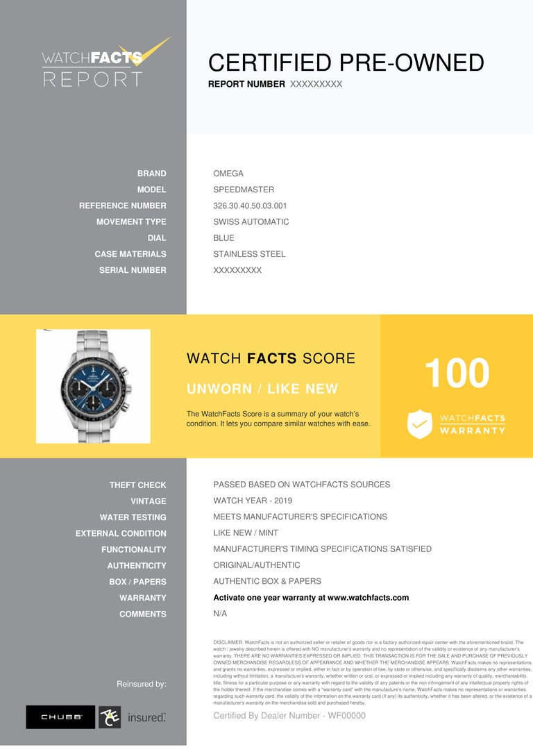 Omega Speedmaster Reference #:326.30.40.50.03.001. New Men's Omega Co-Axial Chronograph 40mm 326.30.40.50.03.001 stainless steel strap, stainless steel bezel, on blue face.. Verified and Certified by WatchFacts. 1 year warranty offered by