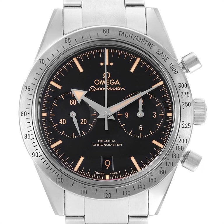 Omega Speedmaster 57 Broad Arrow Watch 331.10.42.51.01.002 Box Card. Officially certified chronometer automatic self-winding chronograph movement. Column wheel mechanism and Co-Axial escapement. Silicon balance-spring on free sprung-balance, 2