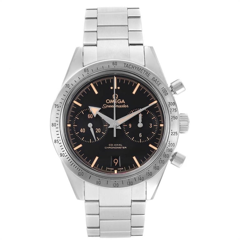 Omega Speedmaster 57 Broad Arrow Watch 331.10.42.51.01.002 Box Card In Excellent Condition For Sale In Atlanta, GA