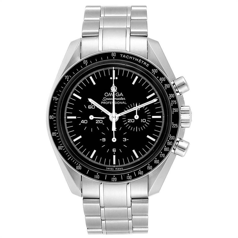Omega Speedmaster Chronograph Black Dial Mens MoonWatch 3570.50.00. Manual winding chronograph movement. Stainless steel round case 42.0 mm in diameter. Fixed stainless steel bezel with tachymetre function. Hesalite crystal. Black dial with indexes