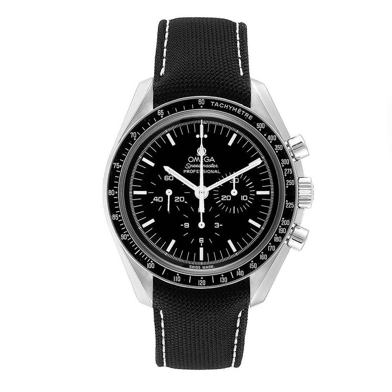 Omega Speedmaster Chronograph Black Dial Mens MoonWatch 3570.50.00. Manual winding chronograph movement. Stainless steel round case 42.0 mm in diameter. Stainless steel bezel with tachymetre function. Hesalite crystal. Black dial with indexes and