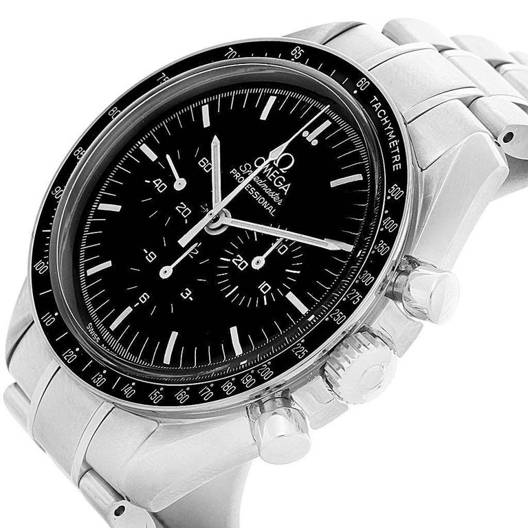 Omega Speedmaster Chronograph Black Dial Men's MoonWatch 3570.50.00 For Sale 2