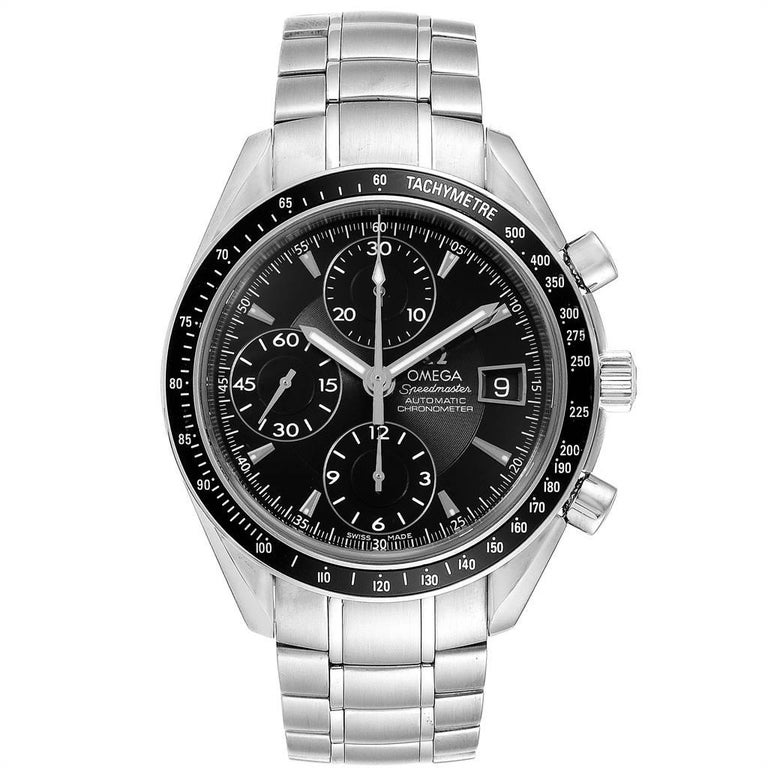 Omega Speedmaster Chronograph Black Dial Mens Watch 3210.50.00 Cards. Authomatic self-winding winding chronograph movement. Stainless steel round case 40.0 mm in diameter. Black bezel with tachymetre function. Scratch-resistant sapphire crystal with