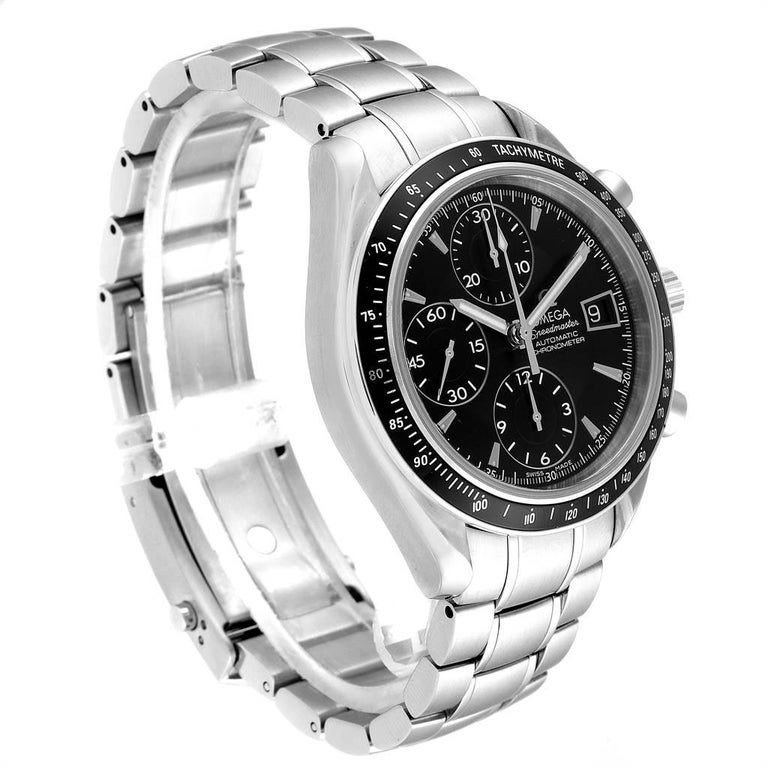 Omega Speedmaster Chronograph Black Dial Men's Watch 3210.50.00 Cards In Excellent Condition In Atlanta, GA