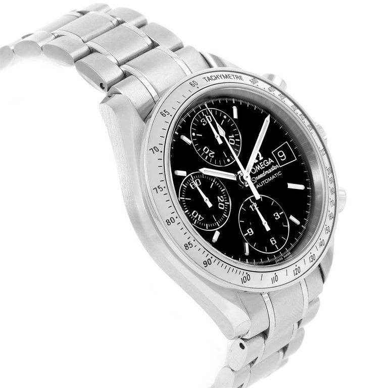 Omega Speedmaster Chronograph Black Dial Steel Watch 3513.50.00 Card. Automatic self-winding chronograph movement. Stainless steel round case 39 mm in diameter. Fixed stainless steel bezel with tachymetre function. Scratch-resistant sapphire crystal
