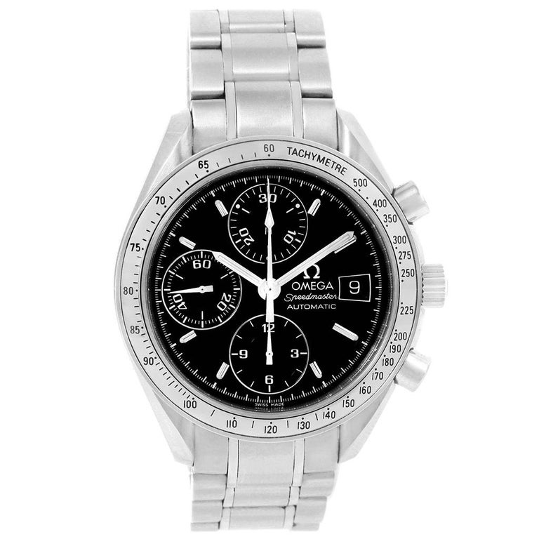 Men's Omega Speedmaster Chronograph Black Dial Steel Watch 3513.50.00 Card For Sale