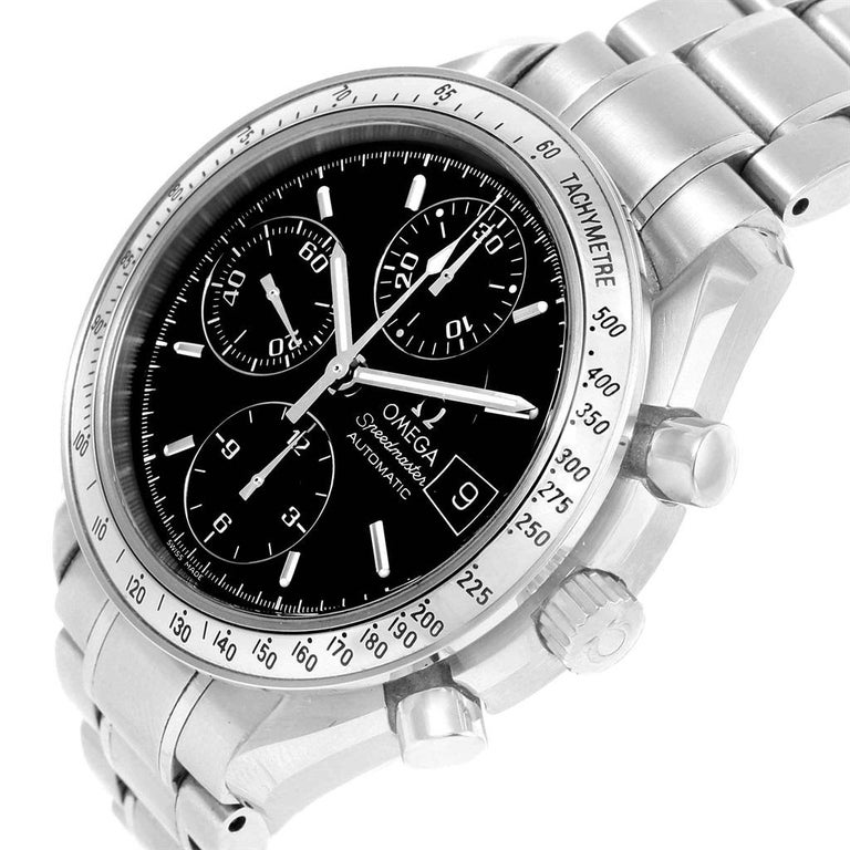 Omega Speedmaster Chronograph Black Dial Steel Watch 3513.50.00 Card For Sale 3