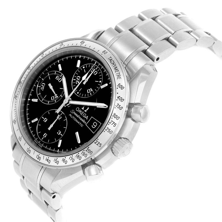 Omega Speedmaster Chronograph Black Dial Steel Watch 3513.50.00 Card For Sale 4
