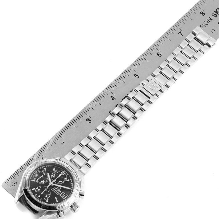Omega Speedmaster Chronograph Black Dial Steel Watch 3513.50.00 Card For Sale 5