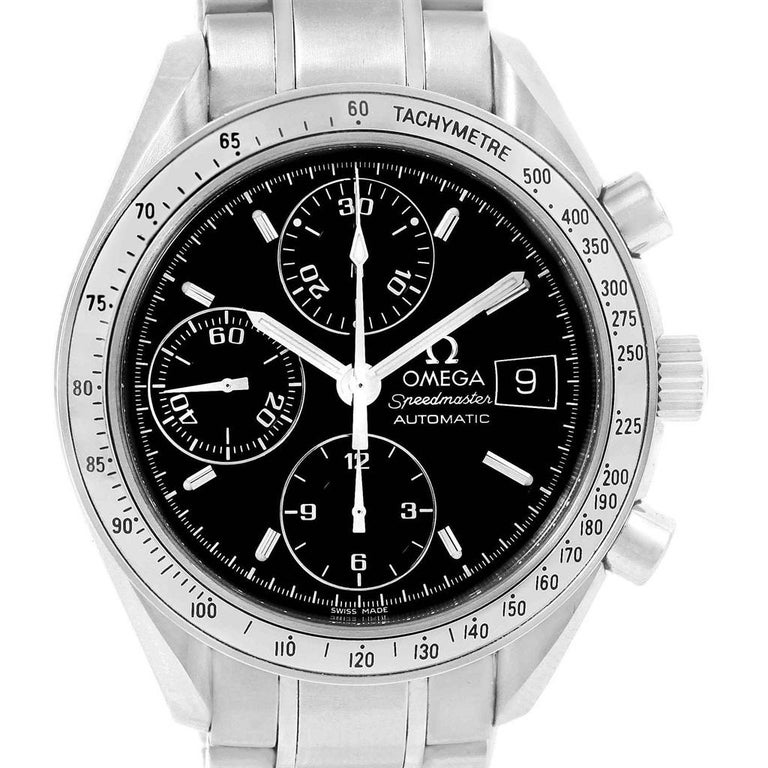 Omega Speedmaster Chronograph Black Dial Steel Watch 3513.50.00 Card For Sale