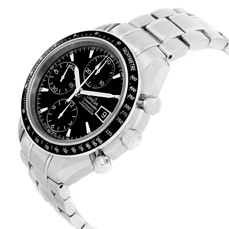 Omega Speedmaster Chronograph Steel Mens Watch 3210.50.00. Authomatic self-winding winding chronograph movement. Stainless steel round case 40.0 mm in diameter. Fixed black bezel with tachymetre function. Scratch-resistant sapphire crystal with
