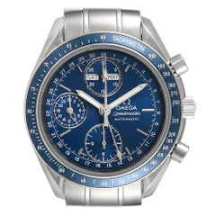 Omega Speedmaster Day Date Blue Dial Chronograph Watch 3222.80.00 Card