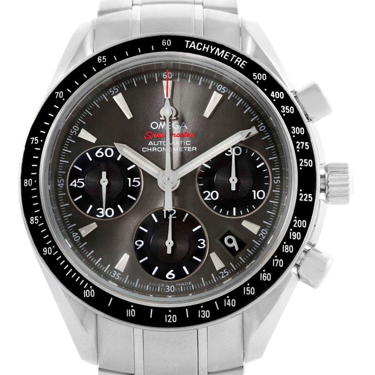 Omega Speedmaster Day Date Gray Dial Watch 323.30.40.40.06.001 Card. Automatic self-winding chronograph movement. Stainless steel round case 40.0 mm in diameter. Fixed black ion-plated bezel with tachymetre function. Scratch-resistant sapphire