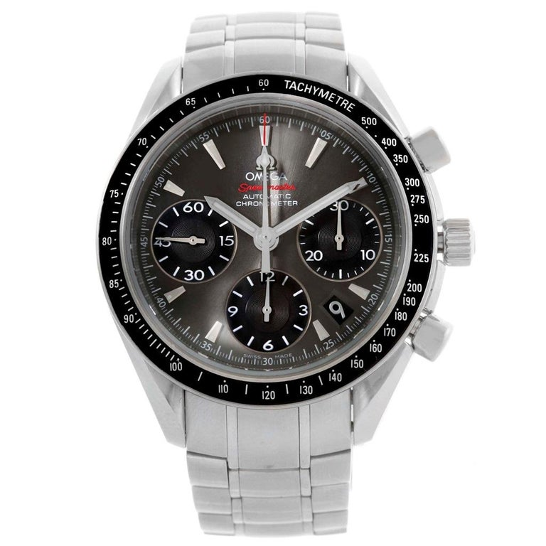 Omega Speedmaster Day Date Gray Dial Watch 323.30.40.40.06.001 Card In Excellent Condition For Sale In Atlanta, GA