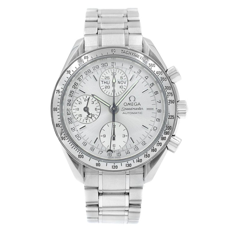 1b22d1a21 Omega Speedmaster Day Date Month Silver Dial Steel Automatic Watch  3523.30.00 For Sale