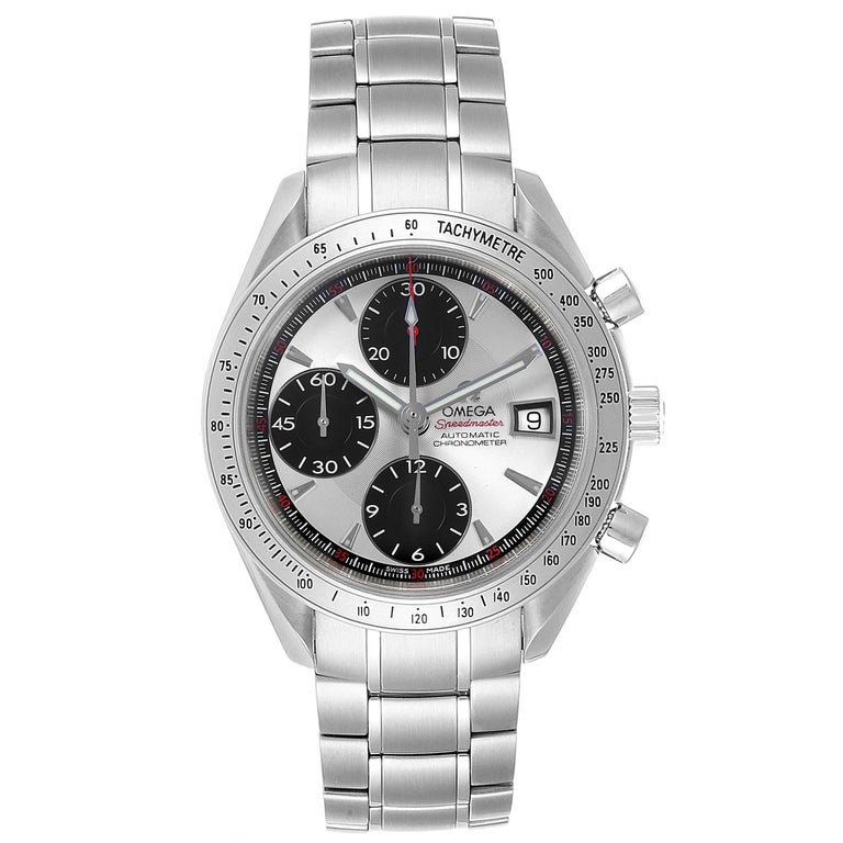 Omega Speedmaster Day-Date Silver Panda Dial Mens Watch 3211.31.00. Automatic self-winding chronograph movement. Stainless steel round case 40.0 mm in diameter. Stainless steel bezel with tachymetric scale. Scratch-resistant sapphire crystal with