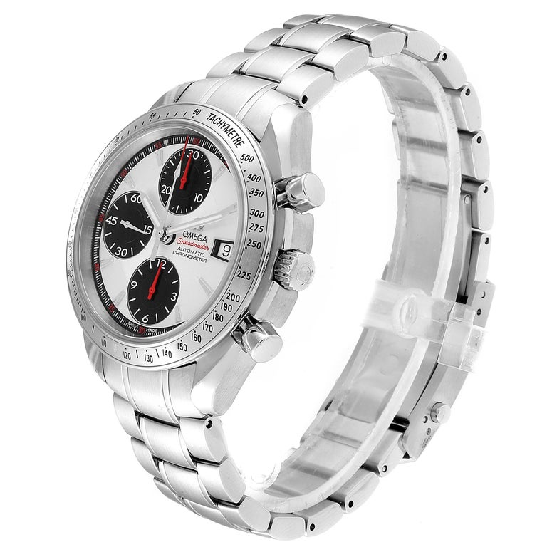 Omega Speedmaster Day-Date Silver Panda Dial Men's Watch 3211.31.00 For Sale 1