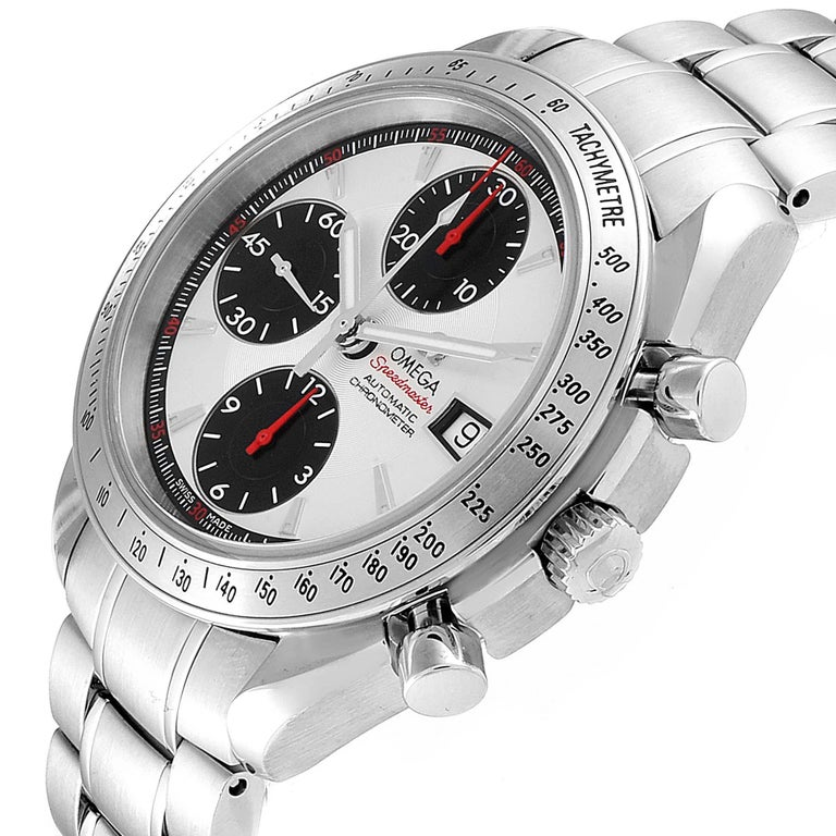 Omega Speedmaster Day-Date Silver Panda Dial Men's Watch 3211.31.00 For Sale 2