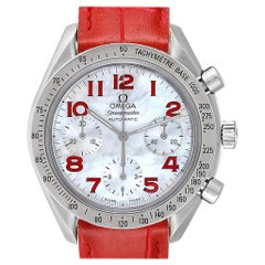 Omega Speedmaster Mother of Pearl Red Strap Ladies Watch 3834.79.40