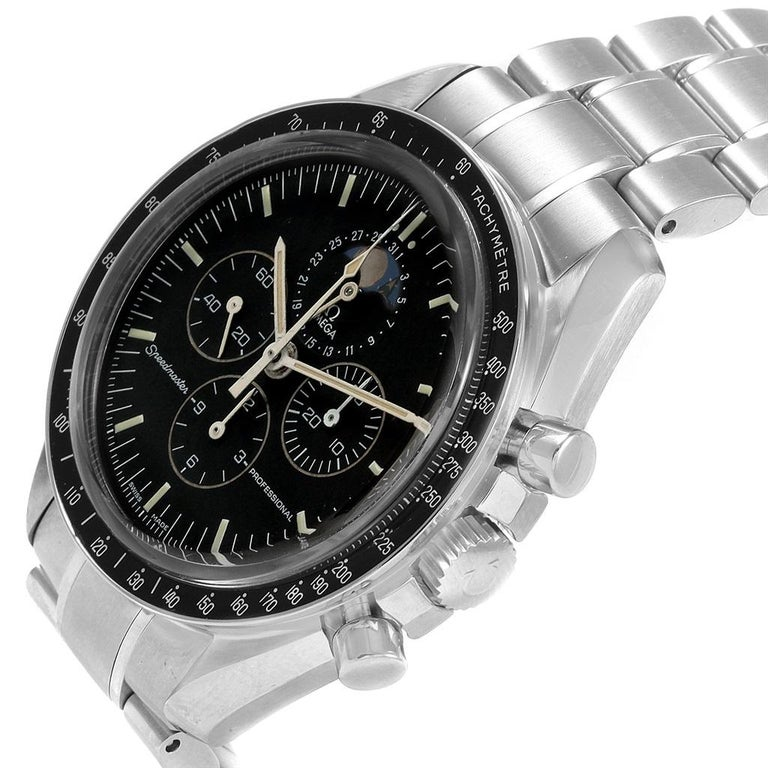Omega Speedmaster Professional Moonphase Moon Watch 3576.50.00. Manual winding chronograph movement. Stainless steel round case 42.0 mm in diameter. Transparent case back. Fixed stainless steel bezel with tachymetre function. Scratch-resistant