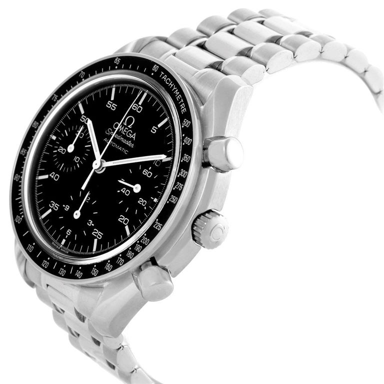 Omega Speedmaster Reduced Black Dial Automatic Mens Watch 3510.50.00. Authomatic self-winding movement. Stainless steel round case 39.0 mm in diameter. Fixed stainless steel bezel with tachimeter function. Hesalite crystal. Black dial with indexes
