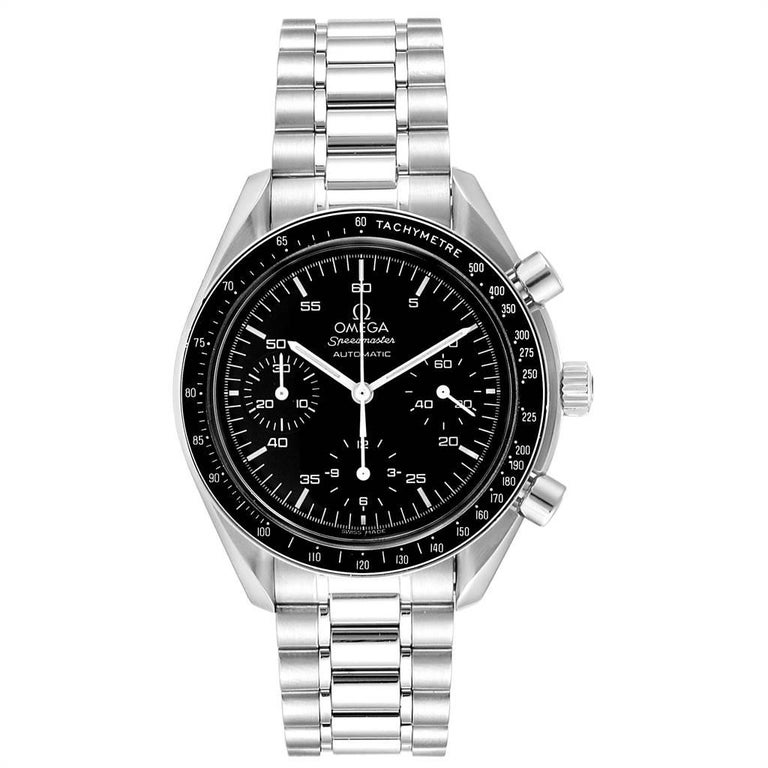 Omega Speedmaster Reduced Black Dial Automatic Mens Watch 3510.50.00. Authomatic self-winding movement. Stainless steel round case 39.0 mm in diameter. Stainless steel bezel with tachimeter function. Hesalite crystal. Black dial with indexes and