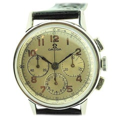 Omega Stainless Steel 3 Register Chronograph Manual Wind, circa 1940s