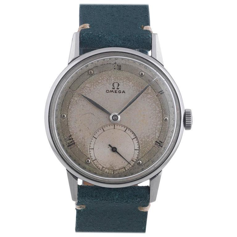 Women's or Men's Omega Stainless Steel Applied Roman Numerals Manual Wind Wristwatch For Sale