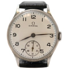 Omega  Stainless Steel Manual Wind Wristwatch, 1930s