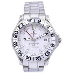 Omega Stainless Steel Seamaster GMT White Wave Dial