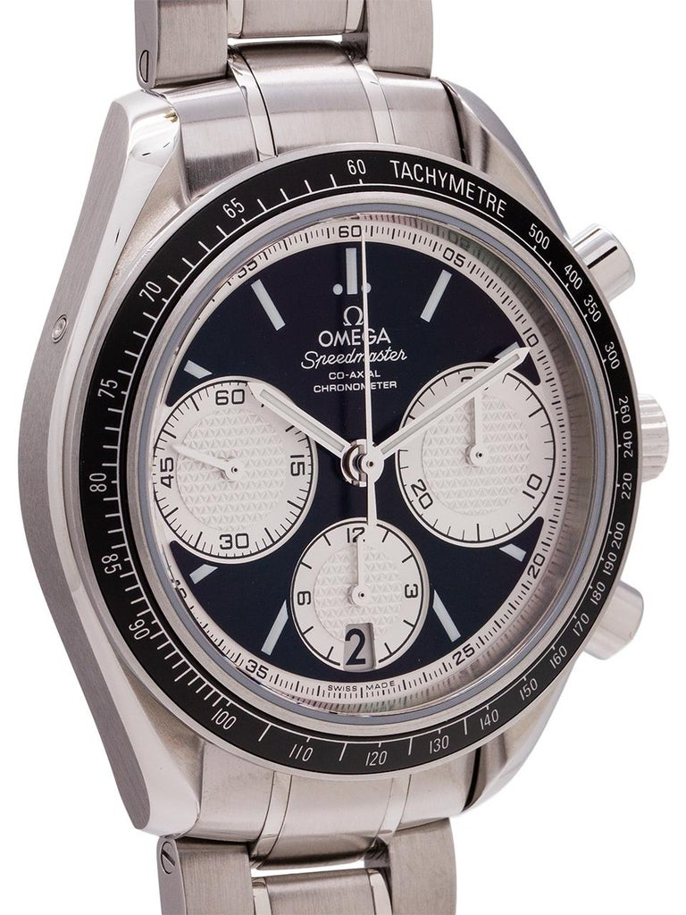 """Great looking """"reverse Panda"""" dial Omega stainless steel Speedmaster Co-Axial chronograph ref  326.30.40.50.01.002. 40mm diameter stainless steel case with black tachometer bezel. Sapphire crystal and signed Omega crown. Featuring a beautiful"""