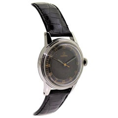 Omega Stahl Art-Deco, Runde Uhr mit seltenem Original schwarzen Zifferblatt, um 1930
