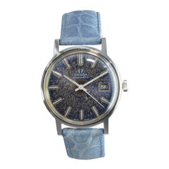 Omega Steel Automatic with Patinated Original Blue Dial and Matching Strap 1970s