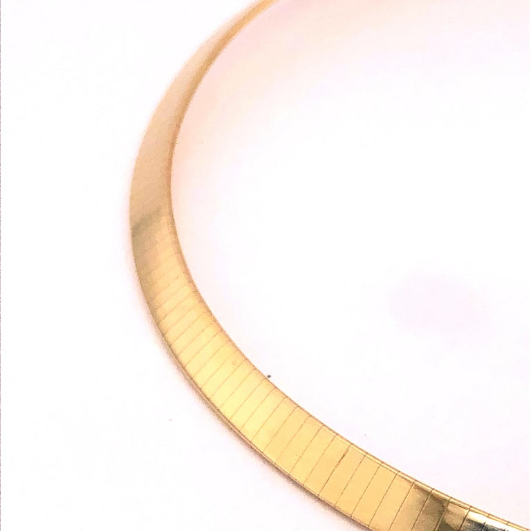Modern Omega Style Yellow Gold Necklace