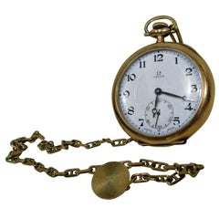 Omega Swiss 1916 14-Karat, 17 Jeweled Gold Pocket Watch and Chain Fob