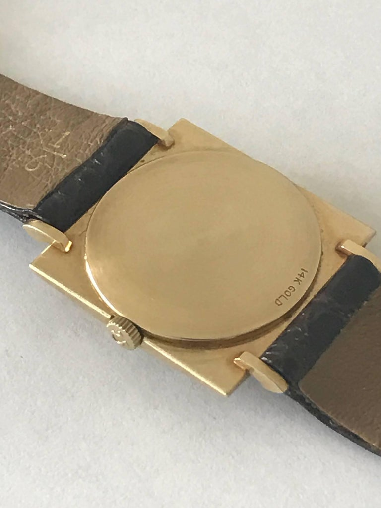 Modern Omega Textured Gold Dress Watch For Sale